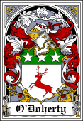 Irish Coat of Arms Bookplate for O'Doherty (O'Dogherty)