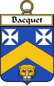 French Coat of Arms Badge for Bacquet