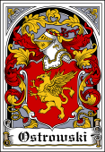 Polish Coat of Arms Bookplate for Ostrowski