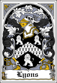 Irish Coat of Arms Bookplate for Lyons