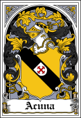 Spanish Coat of Arms Bookplate for Acuna