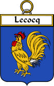 French Coat of Arms Badge for Lecocq (Cocq le)