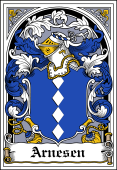 Danish Coat of Arms Bookplate for Arnesen