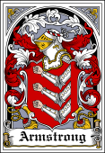 Irish Coat of Arms Bookplate for Armstrong