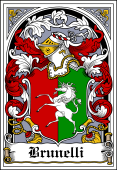 Italian Coat of Arms Bookplate for Brunelli