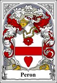 French Coat of Arms Bookplate for Peron