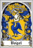 German Wappen Coat of Arms Bookplate for Vogel