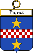 French Coat of Arms Badge for Piquet