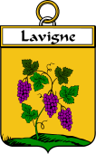 French Coat of Arms Badge for Lavigne (de la Vigne)