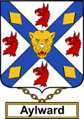 English Coat of Arms Shield Badge for Aylward