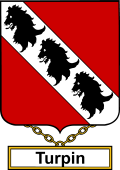 English Coat of Arms Shield Badge for Turpin or Durbin
