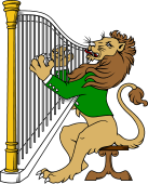 Symphony Lions Clipart image: Lion playing Harp