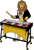 Symphony Lions Clipart image: Lion playing Xylophone