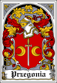 Polish Coat of Arms Bookplate for Przegonia