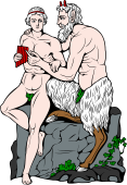 Gods and Goddesses Clipart image: Pan and Olympos
