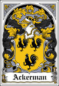 German Wappen Coat of Arms Bookplate for Ackerman