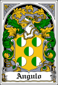 Spanish Coat of Arms Bookplate for Angulo