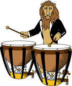 Symphony Lions Clipart image: Lion playing Kettle Drums