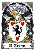 Irish Coat of Arms Bookplate for O'Crean