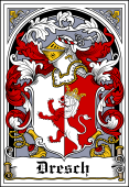 German Wappen Coat of Arms Bookplate for Dresch