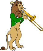 Symphony Lions Clipart image: Lion playing Trombone