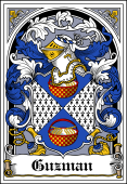 Spanish Coat of Arms Bookplate for Guzman