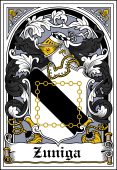 Spanish Coat of Arms Bookplate for Zuniga