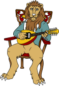 Symphony Lions Clipart image: Lion playing Mandolin