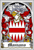 Spanish Coat of Arms Bookplate for Manzano