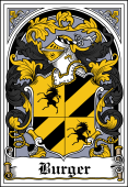 German Wappen Coat of Arms Bookplate for Burger
