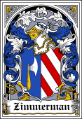 German Wappen Coat of Arms Bookplate for Zimmerman