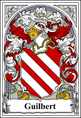 French Coat of Arms Bookplate for Guilbert