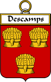 French Coat of Arms Badge for Descamps (Camps des)