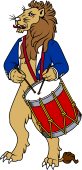 Symphony Lions Clipart image: Lion playing Foot Drum