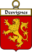 French Coat of Arms Badge for Desvignes (Vignes des)