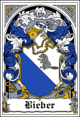 German Wappen Coat of Arms Bookplate for Bieber
