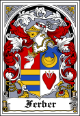 German Wappen Coat of Arms Bookplate for Ferber