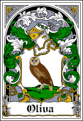 Spanish Coat of Arms Bookplate for Oliva