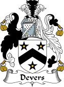 English Coat of Arms for Devers or Deveris