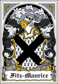 Irish Coat of Arms Bookplate for Fitz-Maurice