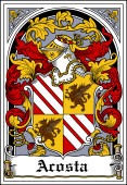 Spanish Coat of Arms Bookplate for Acosta